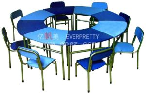 8 Kid′s Fixed Metal Leg with Wooden Top Kindergarten Desk & Chair Set Furniture pictures & photos