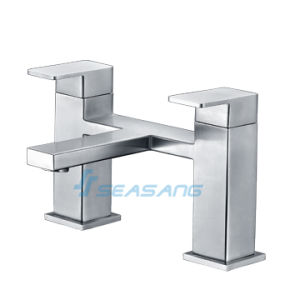 Stainless Steel Bath Shower Double Handles Deck Mounted Tub Faucet pictures & photos