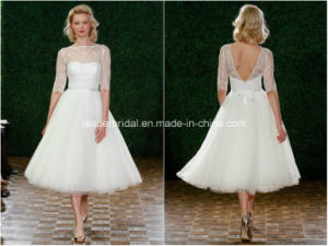 Sheer 1/2 Sleeve Bridal Party Prom Gowns Tulle Lace Short Wedding Dresses Z2037 pictures & photos