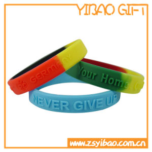 Embossed Text Silicone Wristband Eco-Friendly Material (YB-SW-19) pictures & photos