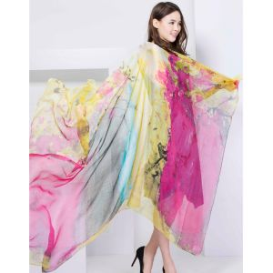 100% Silk Digital Print Shawl X-Large Over Sized Silk Scarf Fashion Silk Chiffon Shawl pictures & photos