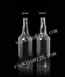 1000ml Glass Vodka Bottle Wine Glass Bottle with Metal Cap Glass Bottle 1L pictures & photos