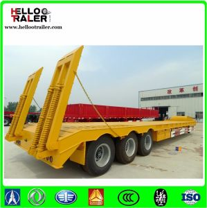 Tri-Axle Heavy Duty Gooseneck 60 Ton Hydraulic Low Bed Truck Semi Trailer pictures & photos