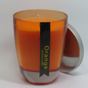 2017 New Product Orange Wedding Glass Candle with Metal Lids pictures & photos