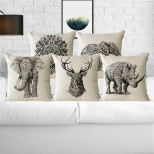 Linen Simulate Animal Polyester Back Cushion with White Duck Feather Insert pictures & photos