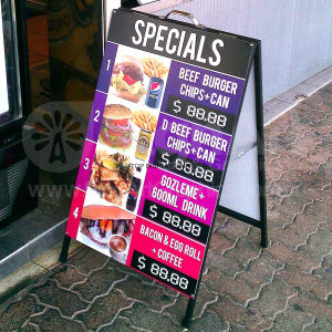 Full Colour Printed a Frame Signs 24 X 36 Metal & Sandwich Real Estate & Election Campaigns Portable Sidewalk Display Advertising Portable Coffee Bar Board pictures & photos