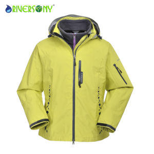 Yellow Polyester Outdoor 3 in 1 Jacket pictures & photos