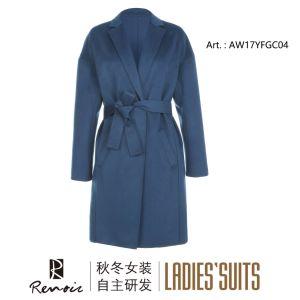 OEM Blue Woolen Winter Women′s Dust Coat pictures & photos