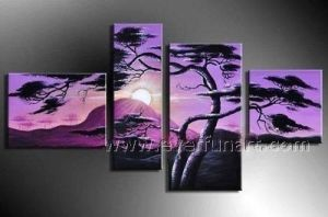 Pure Handmade Home Decoration Canvas Art Landscape Painting Tree Group Oil Painting (LA4-038) pictures & photos