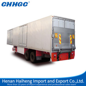 Chhgc High Quality 50t 3axles Van Semi Trailer with Hydraulic Lifting Tailboar pictures & photos