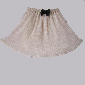 White Chiffon Black Dots Short Skirt with Black Bow (KD-015)