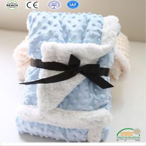Pure Color Flannel Fleece Baby Blanket with Customized Embroidery Logo pictures & photos