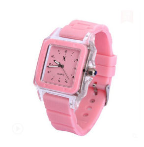 Silicone Band Alloy Case Quartz Sport Wrist Watch