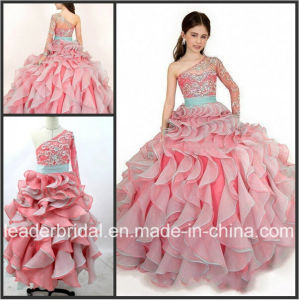 One Sleeves Girl′s Pageant Ball Gown Pink Organza Flower Girl Dress Fl2153 pictures & photos
