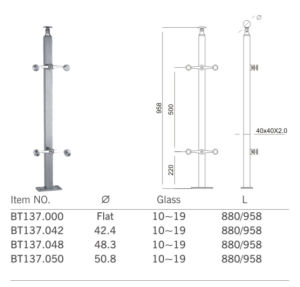 High Quality Glass Handrail Fitting Baluster Post (BT137) pictures & photos