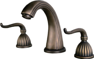 Classic Three Hole Dual Handle Basin Faucet in Antique Brass (60206A)