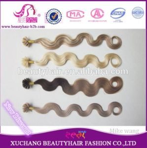 Fine Quality Curl/Wave Pre-Bond Keratin U or Stick Tip Human Remy Hair Extensions pictures & photos