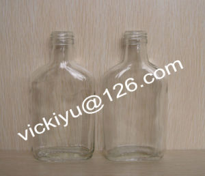 180ml ~300ml Flat Alcohol Glass Bottles, Wine Glass Bottle, Glass Wine Bottle, Grain Spirit Glass Bottles with Screw Cap pictures & photos