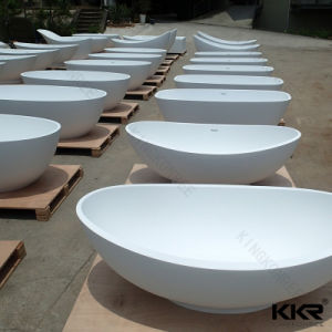 Solid Surface Egg Shape Resin Stone Free Standing Bathtub (171004) pictures & photos