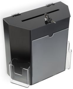 OEM Seviced Acrylic Cubed Black Donation Box with Lock pictures & photos