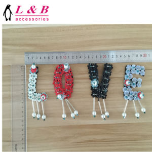 Hot Sale Custom Love One Set Beaded Sequin Applique Patch pictures & photos