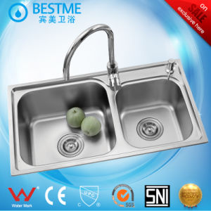 Sanitary Ware Double Bowl Steel Sink for Kitchen (BS-8004) pictures & photos