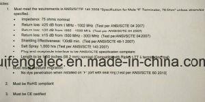 F-Port Locking Terminator with 75 Ohm Resistor /Chromate on Aluminum pictures & photos