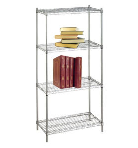 DIY 4 Tiers Heavy Duty 550lbs Chrome Metal Wire Office Book Rack Shelf pictures & photos