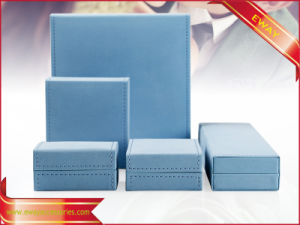 Blue Paper Jewelry Packing Box Fashion PU Jewelry Box pictures & photos