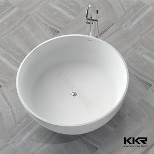 Solid Surface Round Bathroom Artificial Stone Freestanding Bathtub pictures & photos