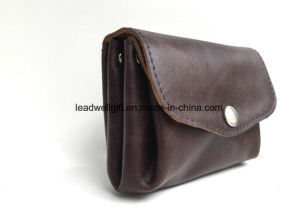 Dark Brown Leather Wallet Spacious Compartments Horizontal Card Slots pictures & photos
