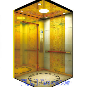 Passenger Elevator Lift with Titanium Gold Mirror Price in China pictures & photos
