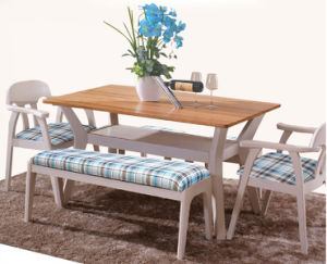 Modern Solid Wood Dining Furniture Two Layers Table and Chairs pictures & photos