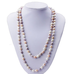 Snh 8mm Rice A Grade Long Pearl Necklace Jewelry for Women