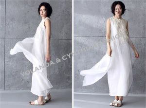 Fashion Pure White Silk Embroidery Detail Long Dress