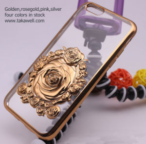 New Metallic Engraving 3D Rose Mobile Phone Case Cover for iPhone 6s /6s Plus pictures & photos