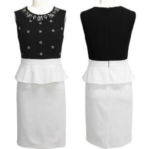 Elegant Black Bound-Edge Frill Beaded Dress (2-250-260)