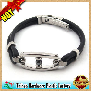 High Quality Adjustable Metal Buckle Silicone Bracelet (TH-mt019) pictures & photos