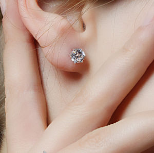 Simple New Design Rhinestone Crystal Silver Ear Studs pictures & photos