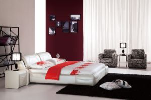 Modern Italian Unique Design Leather Bed 650#