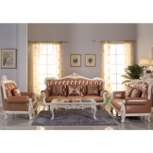 Classic Leather Sofa with Wood Coffee Table (YF-D888)