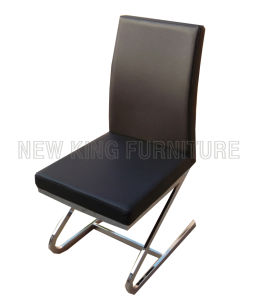 Modern Luxurious Chrome Steel Foot PU Leather Dining Chair (NK-DC096) pictures & photos