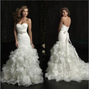 Ruffled Organza Strapless Bridal Wedding Dresses (SMT001) pictures & photos