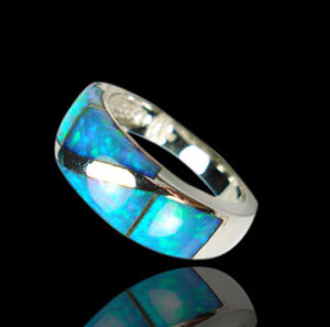 Sterling Silver Rhodium Plating Opal Wedding Rings