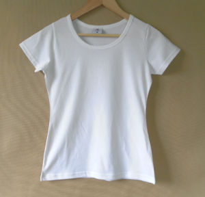 Women′s Fashion Top Quality 100% Cotton T-Shirt pictures & photos