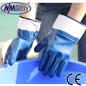 Nmsafety Jersey Liner Full Coated Blue Nitrile Oil Industry Work Glove pictures & photos