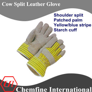 Shoulder Split Patched Palm, Yellow/Blue Stripe, Starch Cuff Leather Work Gloves pictures & photos