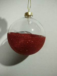 8cm Clear Glass Ball with Glitter DIP (set 3) pictures & photos