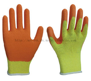 10g T/C Shell, Orange Latex Crinkle Palm Coated Safety Work Glove pictures & photos