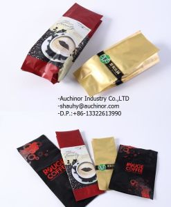 Aluminum Foil Tin Tie Flat Block Bottom Side Gusset Packaging Coffee Bag with Valve pictures & photos